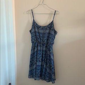 Blue, A-Line Mediterranean Print Dress